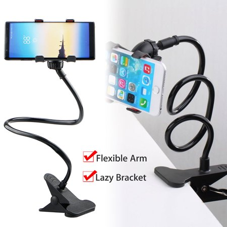 EEEKit Cellphone Clip Stand Holder with Flexible Long Arm Gooseneck Bracket Mount Clamp for iPhone, Galaxy, Google Nexus, LG, Used for Bedroom, Office, Desktop, Kitchen (Black) Desk Clamp Mount Kit