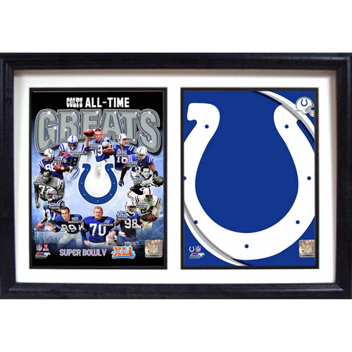 """NFL Indianapolis Colts Greats 12"""" x 18"""" Double Frame"""