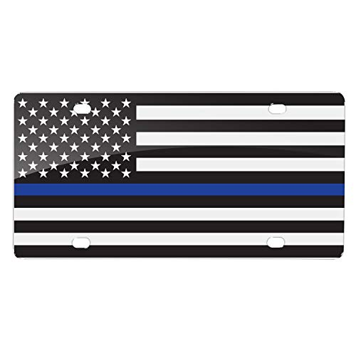 Blue American Flag Thin White Line Novelty Metal License Plate