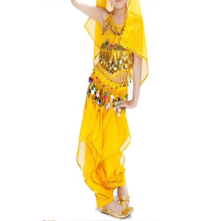 BellyLady Kid Belly Dance Costume, Harem Pants & Halter Top For Halloween-Yellow-L - Belly Dance Costume