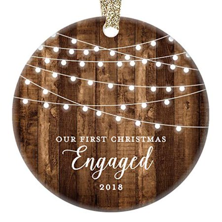 - Engagement Keepsake Gifts 2018, First Christmas Ornament, Rustic Newly Engaged Couple 1st Xmas Farmhouse Collectible Woodgrain Present 3