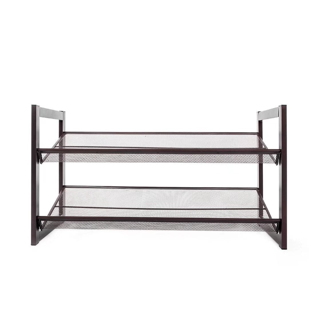 2 Tier Stackable Metal Shoe Rack Adjustable Shoe Organizer Shelf