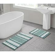 VCNY Home Aiden Jacquard Chenille Noodle 2-Piece Bath Rug Set, Aqua