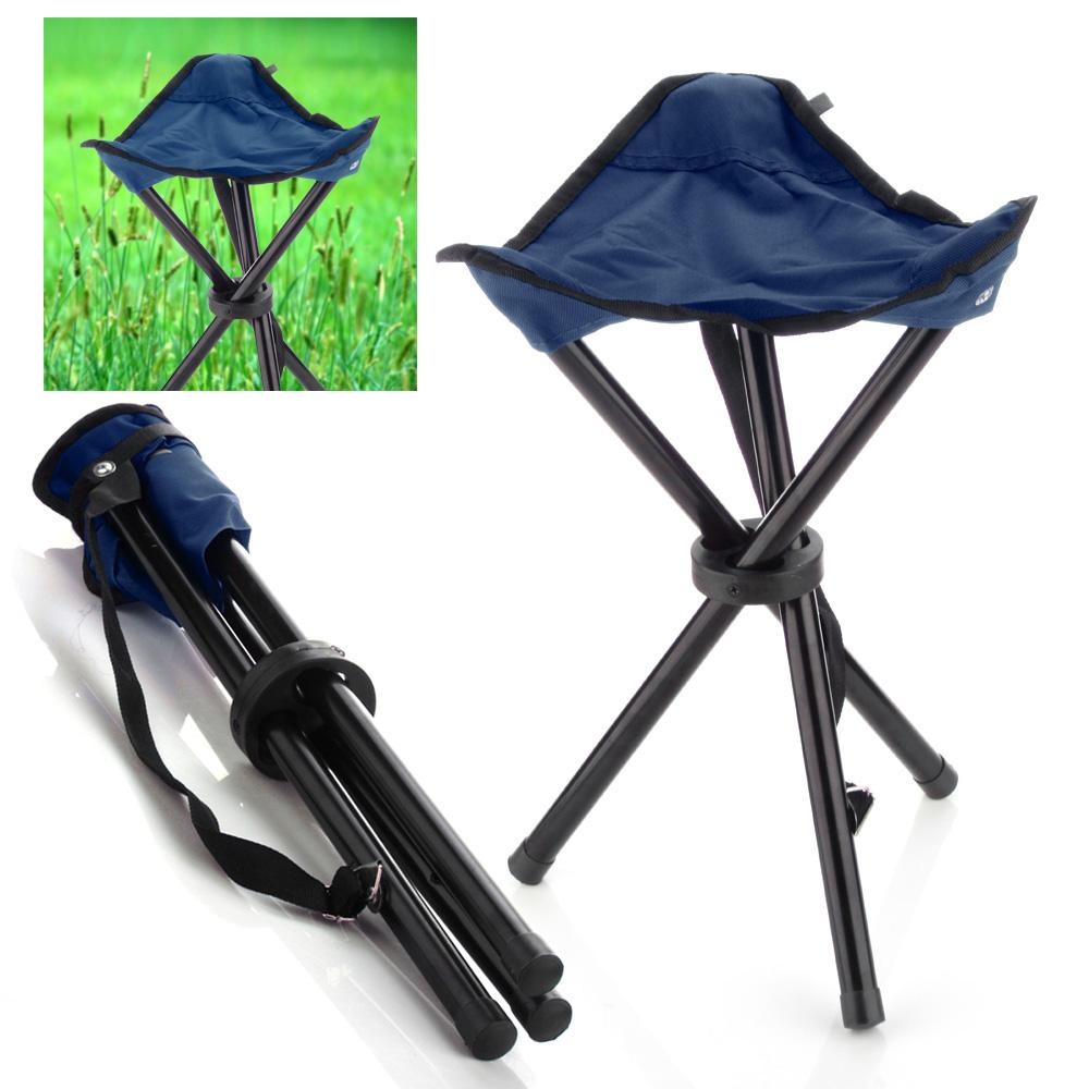 Camping Folding Stool Deep Blue Portable 3 Legs Chair