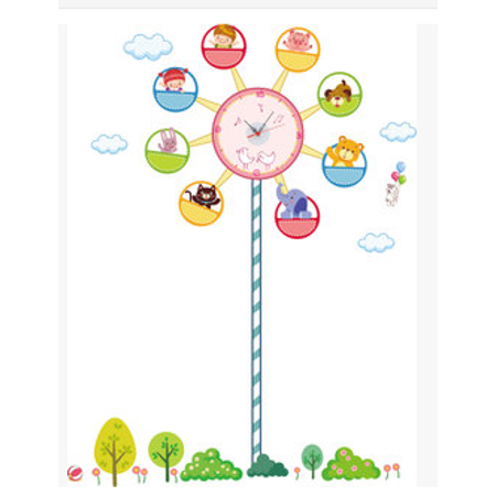 DIY Wall Clock Adhensive Ferris Wheel Art PVC Kid Bedroom Home Decoration ()