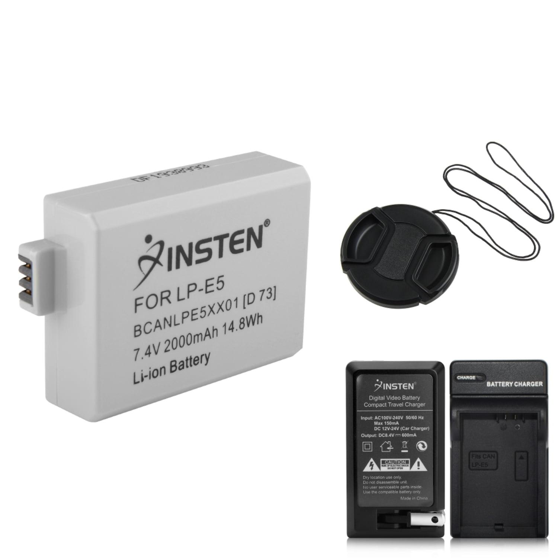 Insten 2 LP-E5 Battery + Charger for Canon REBEL 450D 500D 1000D T1i XSi Xs + Lens Cap