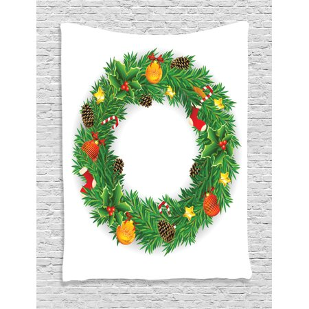 christmas decorations tapestry wreath evergreen with candy cane stockings mistletoe berries on door wall