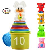 eyscar Stacking Cups Early Educational Toddlers Toy Bathtub Toys with Numbers & Animals Game for Kids Baby 11 Pack (Classic). Classic