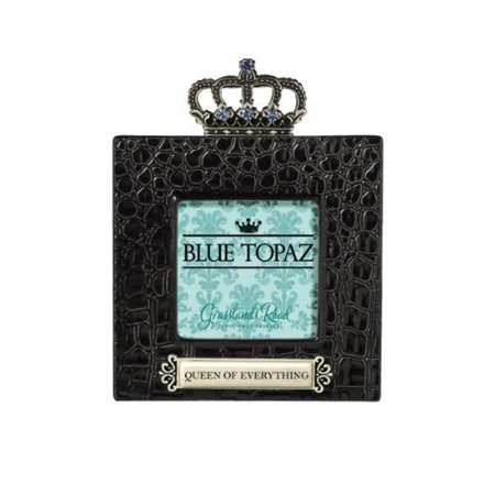 Grasslands Road Queen of Everything Blue Topaz Crown Embellished High Gloss Ceramic Black Crocodile - Crown Frame