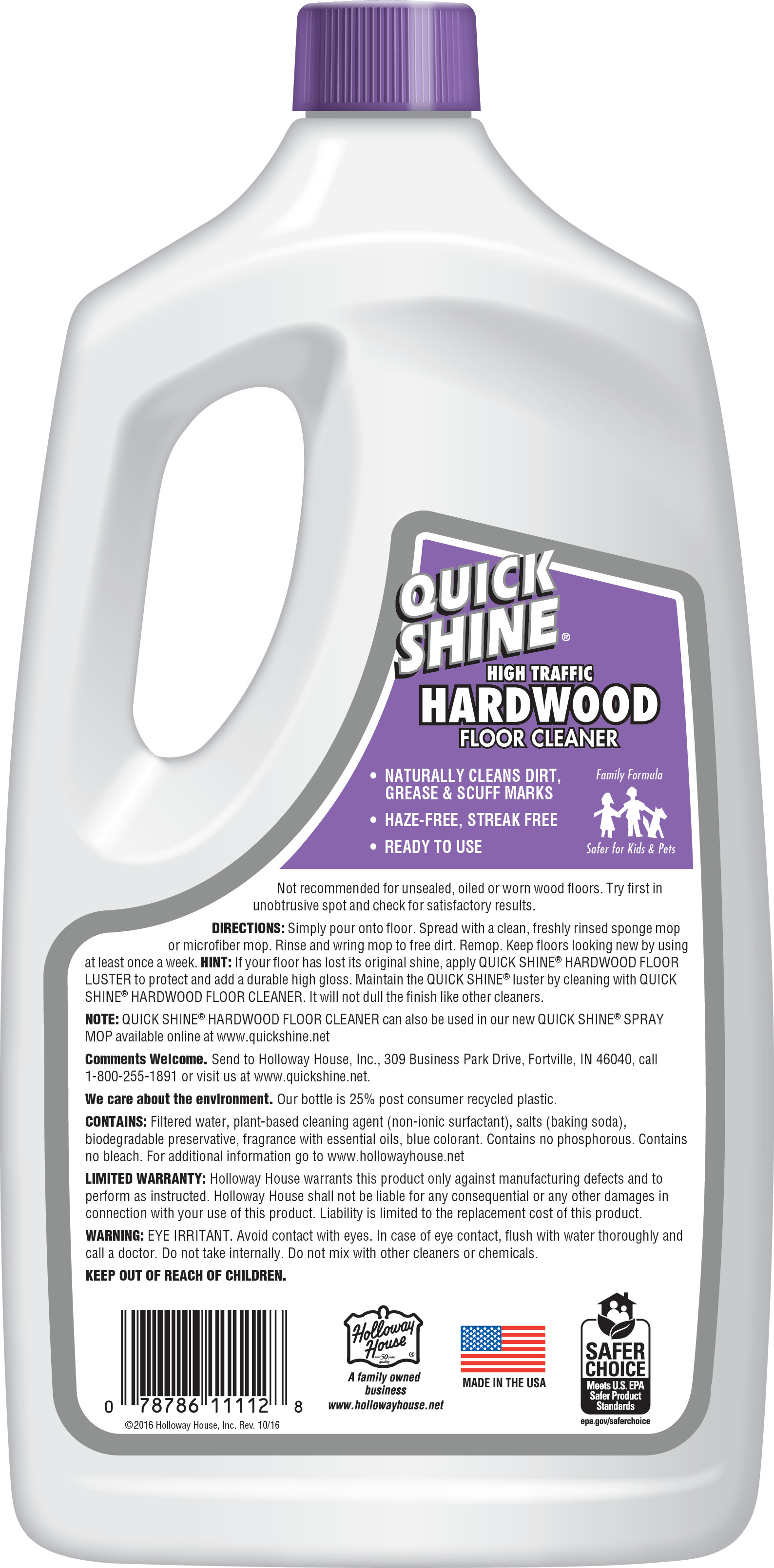 Quick Shine High Traffic Hardwood Floor Cleaner 64 Oz Walmart