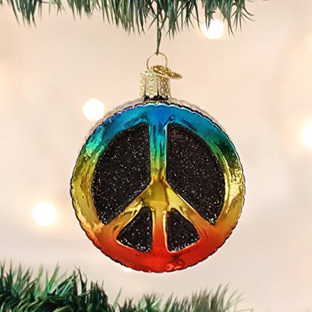 Peace Christmas Ornament.Old World Christmas Peace Sign Glass Blown Ornament