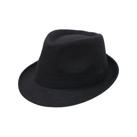 Simplicity Unisex Timelessly Classic Manhattan Fedora Hat, Black