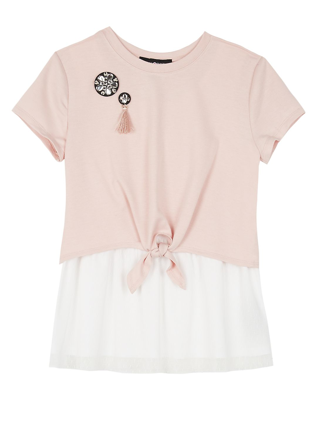 Girl's Colorblock Knotted French Terry Top