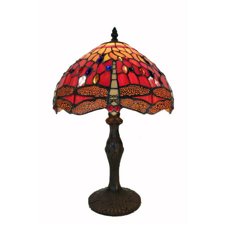 Tiffany Style Red Dragonfly Table Lamp ()