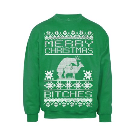 Mens Merry Christmas (B-Word) Ugly Sweater (Tacky Sweater)