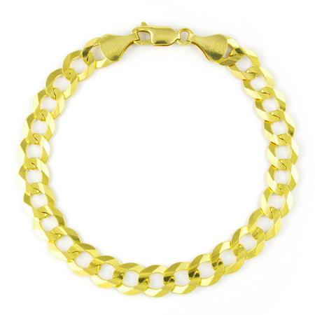 "14k Yellow Gold Solid 8mm Italian Fine Curb Cuban Chain Bracelet 8"" 8.5"" 9"""