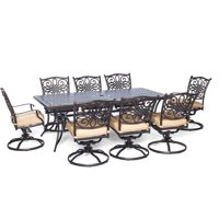 Carolina Factory Direct Springfield 9-Piece Dining Set with Eight Swivel Dining Chairs and a Large 84 x 42 in. Dining Table