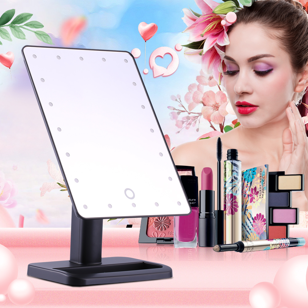 Touch Screen Makeup Mirror,20 LED Desktop Mirror Touch Screen Illuminated Makeup Stand Mirror Lighted Cosmetic Vanity Mirrors with Stand(black)