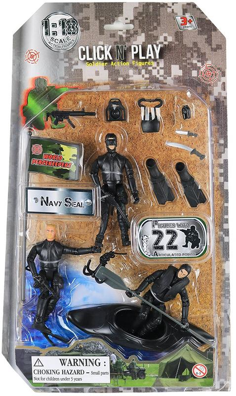 Click n Play Military Navy Seal Action Figure 20 Piece Play set with Accessories by Click N' Play