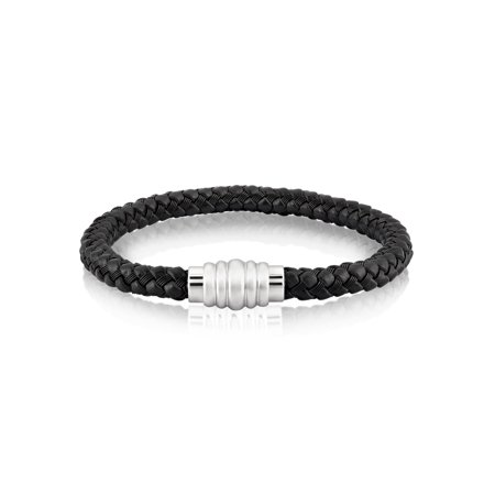 Crucible Stainless Steel Braided Leather Bracelet (7mm) - 8