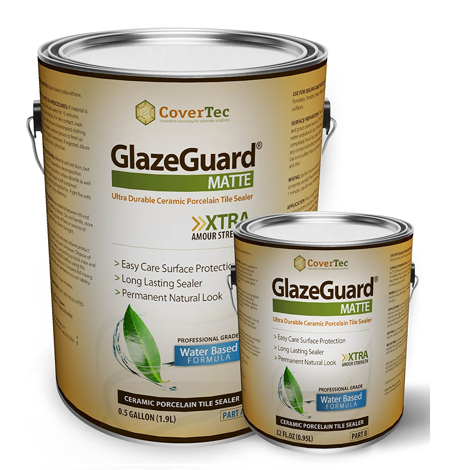 GlazeGuard Matte Sealer For Ceramic, Porcelain, Stone Tile Floor /Wall Surfaces (0.75 Gal - Pro Grade (2) Part Kit)