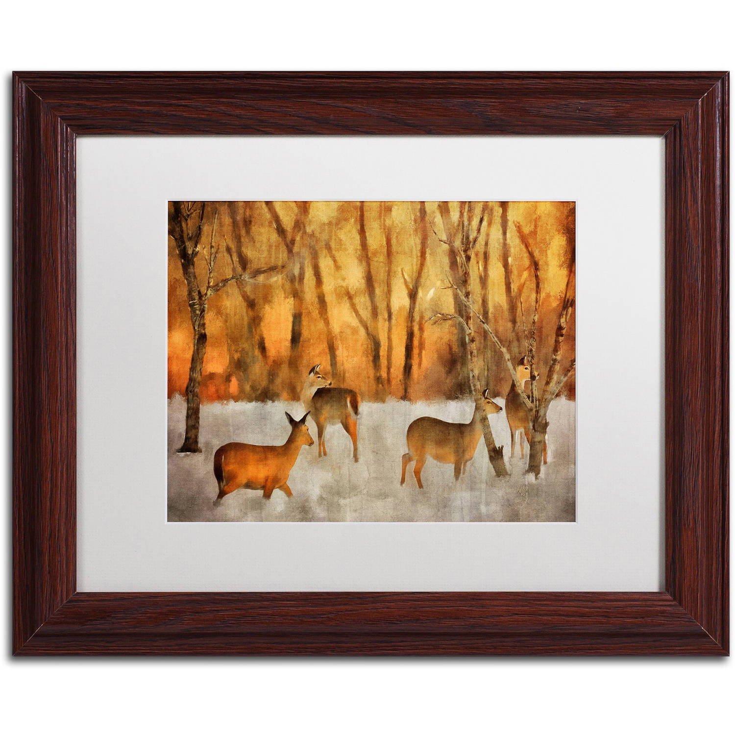 "Trademark Fine Art ""Creatures of a Winter Sunset"" Canvas Art by Lois Bryan White Matte, Wood Frame"