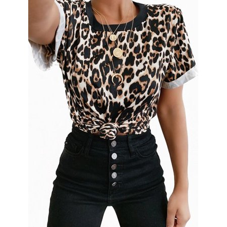 Utowu Women Leopard Printed Short Sleeve Round Neck T-Shirt Casual Loose Running Tops