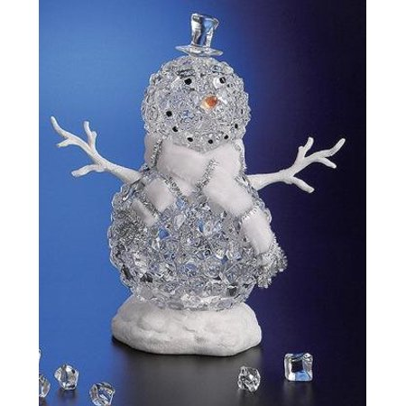 Pack of 2 Icy Crystal Illuminated Christmas Ice Cube Snowman Figures (Two Snowman)