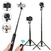 Reactionnx Selfie Stick Tripod, 52 Inch Extendable Camera Tripod for Cellphone, Wireless Remote for Apple and Android Devices, Compatible with iPhone 6 7 8 X Plus, Samsung Galaxy S9 Note