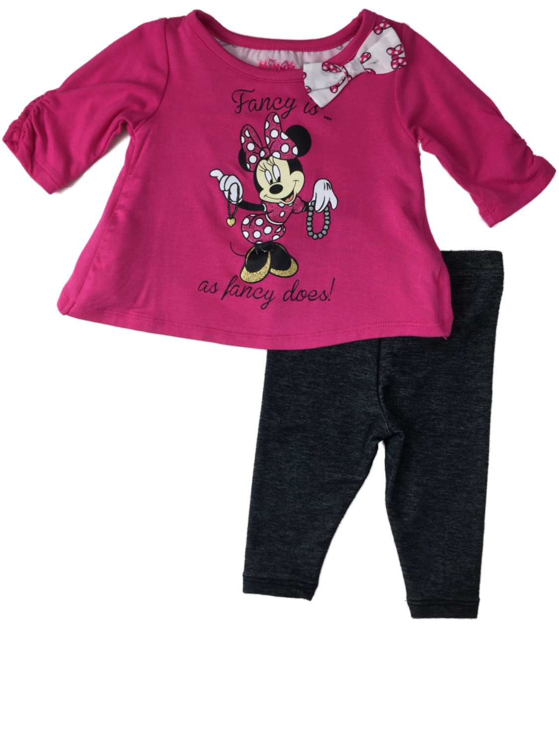 Infant Girls Pink Disney Minnie Mouse Fancy Is Fancy Does Denim Shorts Outfit
