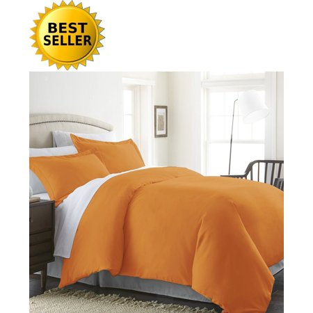 Celine Linen Wrinkle & Fade Resistant 3-Piece Duvet Cover Set - Protects and Covers your Comforter / Duvet Insert, 1500 Series LUXURIOUS 100% HypoAllergenic - Silky Soft, King/Cali King, Elite Orange ()