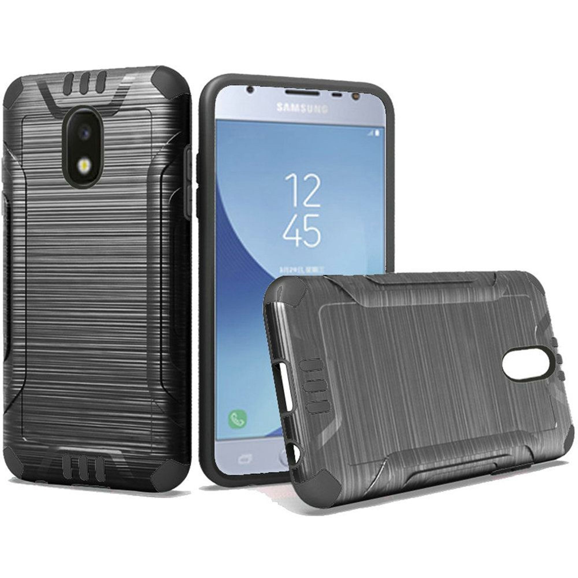 Samsung Galaxy J3 (2018) Case, by Insten Dual Layer [Shock Absorbing] Hybrid Brushed Hard Plastic/Soft TPU Rubber Case Cover For Samsung Galaxy J3 (2018)
