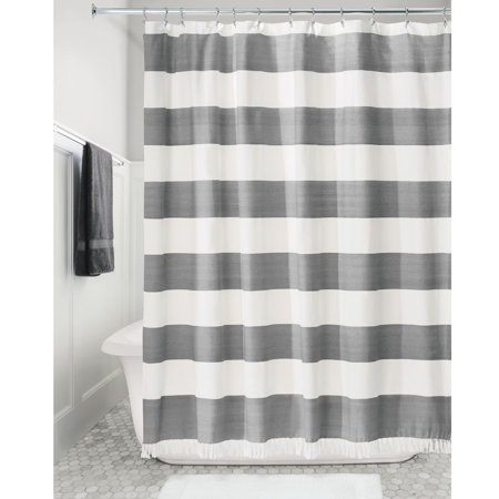 IDesign Wide Stripe Fabric Shower Curtain Charcoal
