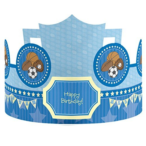 All Star Sports - Crown Happy Birthday Party Hats - 8 Count