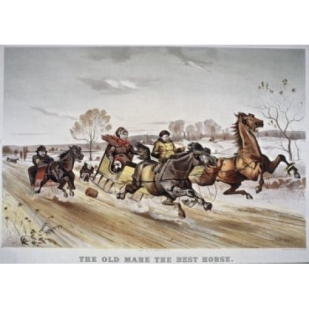The Old Mare the Best Horse Currier & Ives Color Lithograph  Library of Congress Washington DC USA Poster