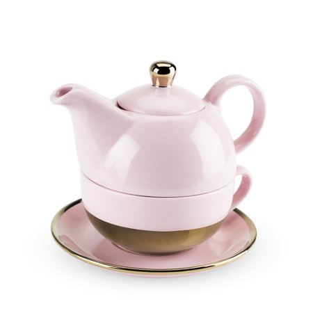 Porcelain Teapot, Addison Pink And Gold Chinese Ceramic Small Cute Tea For One