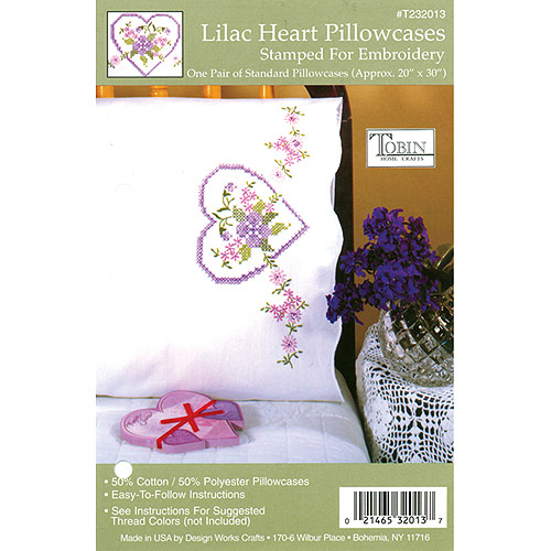 "Tobin Lilac Heart Stamped Pillowcase Pair, 20"" x 30"""