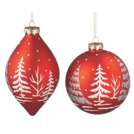 Christmas Snow Scenes (Christmas Red Trees in Snow Scene Glass Holiday Ornaments Set of 2 Midwest)