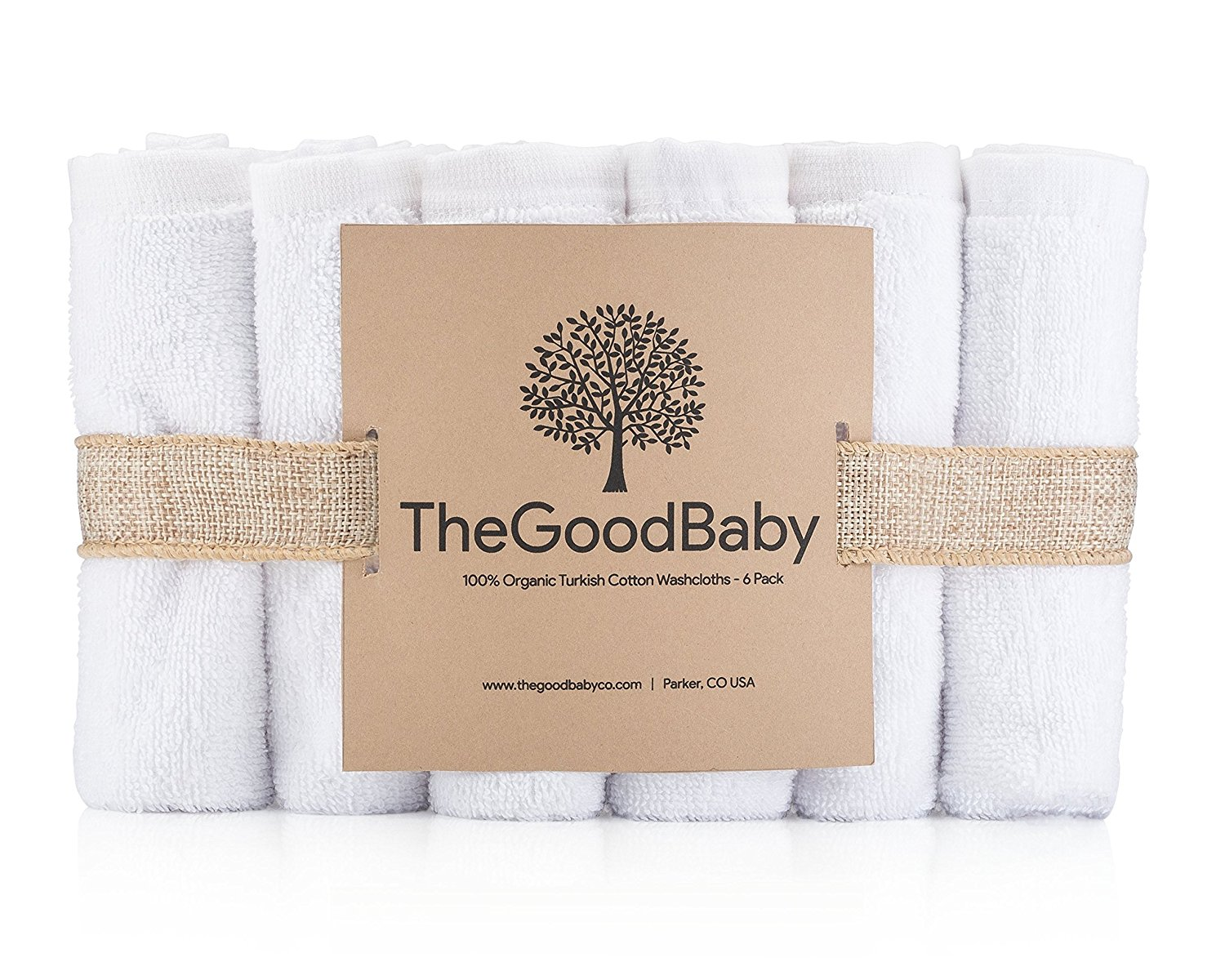 100% Organic Turkish Cotton Baby Washcloths by The Good Baby 6 Pack by The Good Baby