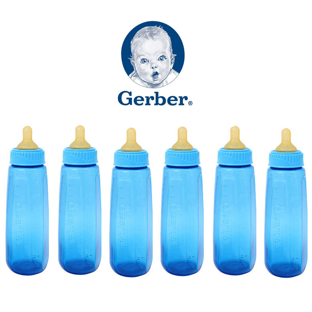 6 Gerber Baby Bottle First Essentials 9 Oz Leak Proof Baby Blue Feeder BPA Free