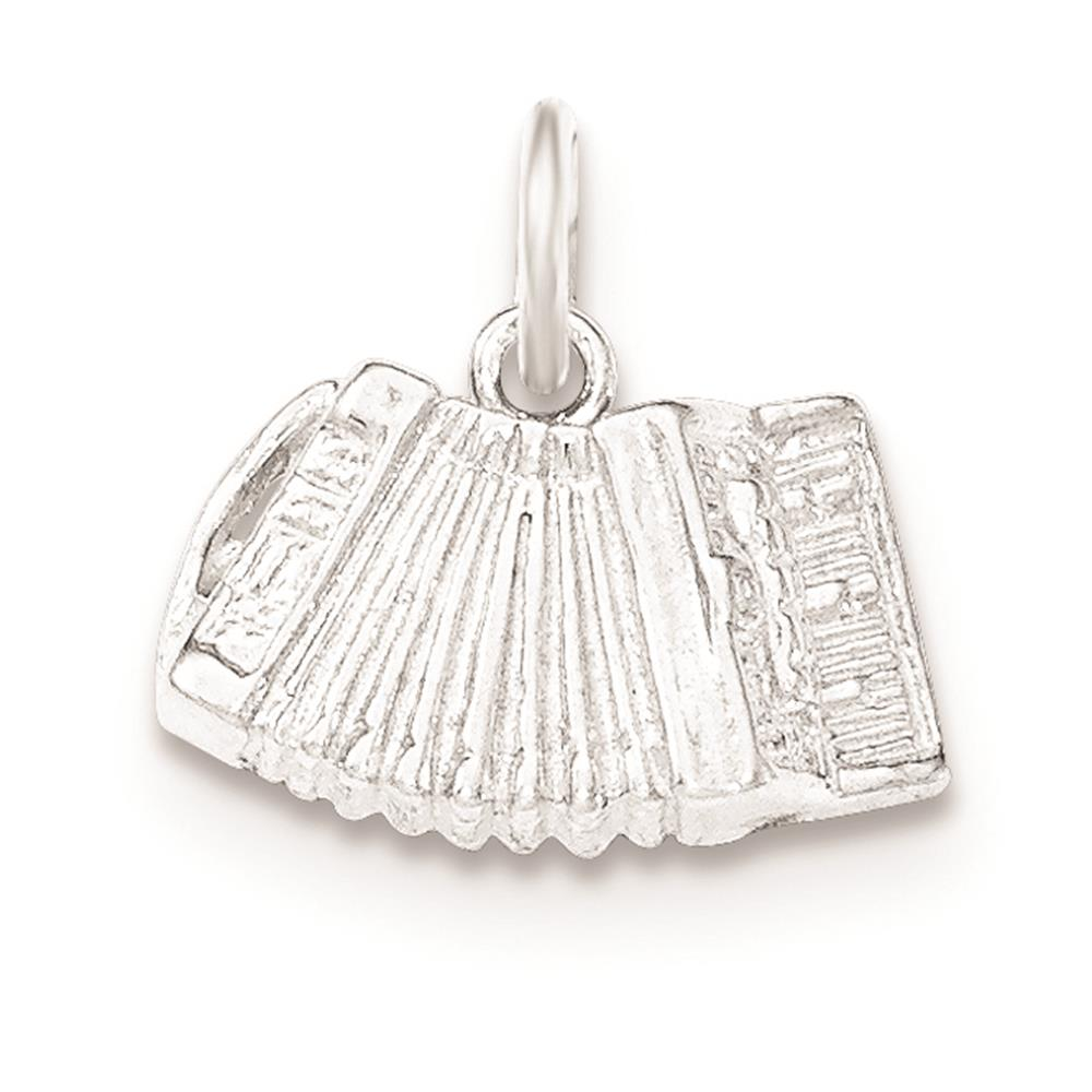 925 Sterling Silver Polished & Textured Accordion Open-back Charm Pendant
