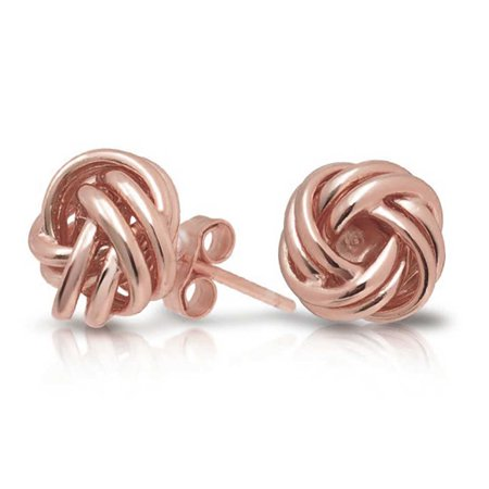 Woven Twisted Rope Love Knot Stud Earrings For Women Rose Gold Plated 925 Sterling Silver - image 4 of 4