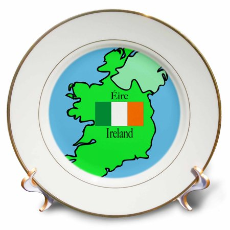 Irish Porcelain Kitchen - 3dRose The map and flag of Ireland with Ireland printed in English and Irish, Porcelain Plate, 8-inch
