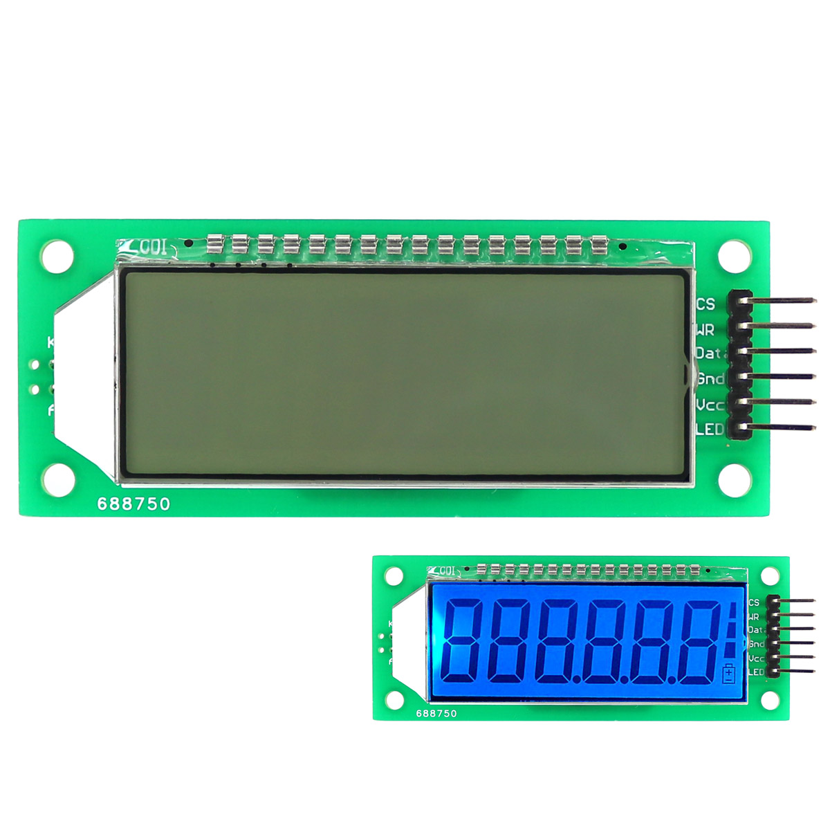 2.4 inch 6-Digit 7 Segment LCD Display Module Blue Backlit With Decimal Point / HT1621 LCD Driver IC for Arduino
