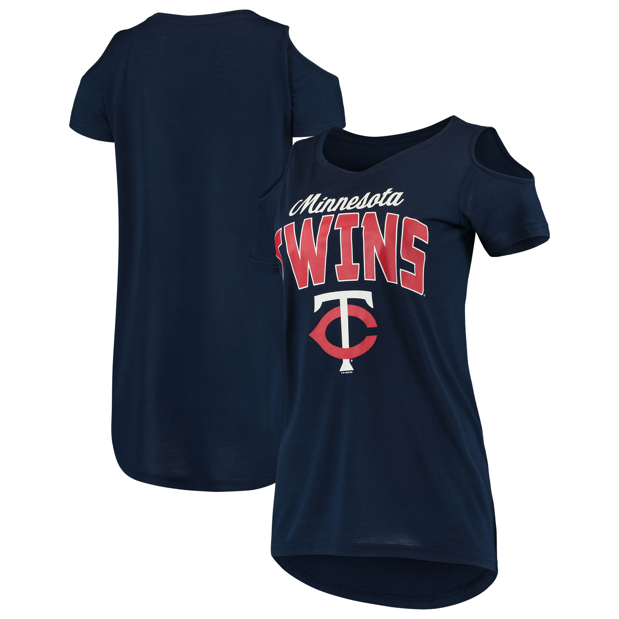 Minnesota Twins G-III 4Her by Carl Banks Women's Clear the Bases Cold Shoulder T-Shirt - Navy