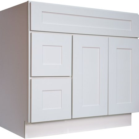 Everyday Cabinets Swhvsd3621dr Bathroom Vanity Single Sink Cabinet In White Shaker With Soft Close Doors And