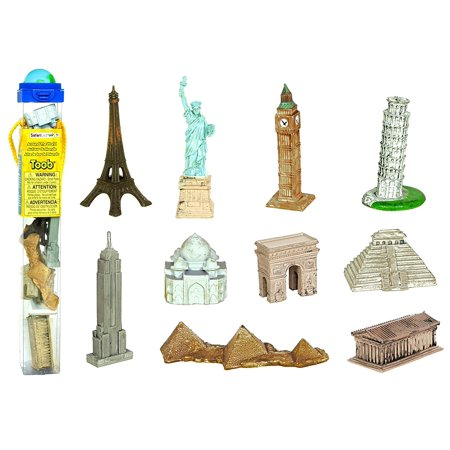 Safari 679604 Around the World TOOB, 10 Figurines, Includes the Leaning Tower of Pisa, Eiffel Tower, Taj Mahal, Arch of Triumph, Statue of Liberty, Temple of.., By Safari Ltd - Football Statue Of Liberty