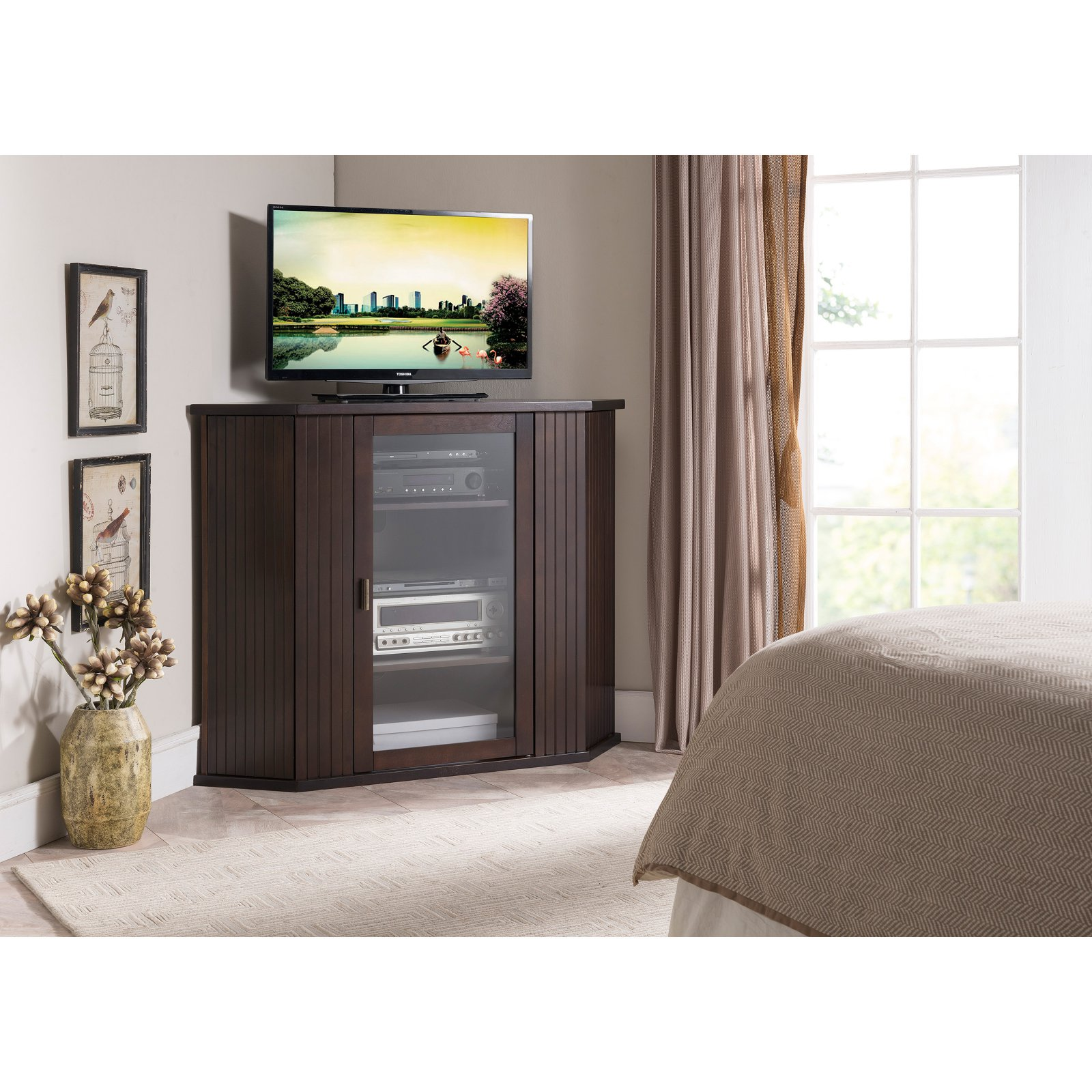 K&B Furniture E4820 47 in. Wood Corner TV/Entertainment Center
