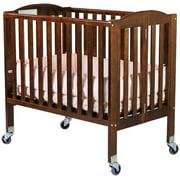 Dream On Me 2-in-1 Folding Birch Portable Crib, Espresso Birch