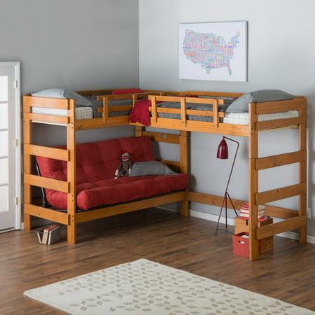 Woodcrest Heartland Futon Bunk Bed With Extra Loft Honey Pine Com